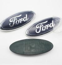 OEM 17.5*7cm Aluminum F-150 Decorative Original Black Blue Chrome Oval Front Grille Tail Plate 7 Inch Logo Sticker