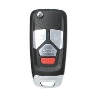 LOCKSMITHOBD 10PCS/LOT ْXHORSE VVDI Universal Wired Flip Remote Key 4 Buttons Audi Style XKAU02EN